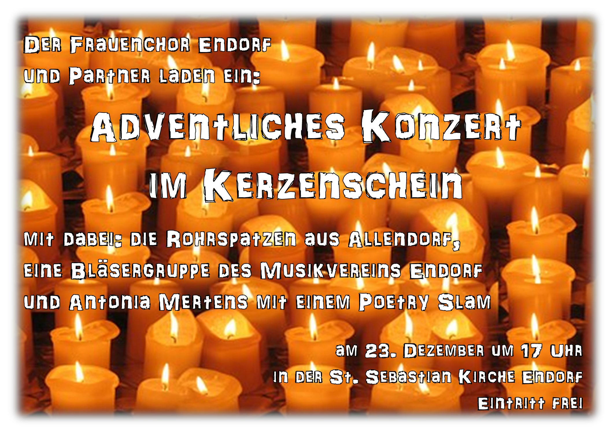 Adventliches Konzert am 23. Dezember in der St. Sebastian Kirche